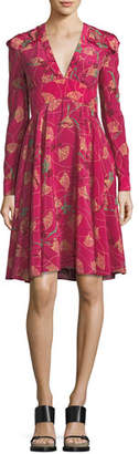 Valentino Lotus-Print Silk V-Neck Dress