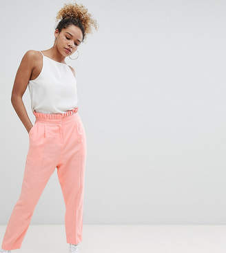Asos DESIGN Petite tailored casual linen PANTS with frill waist