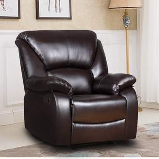 Harper & Bright Designs Harper&Bright Designs Single Recliner Sofa with PU Leather Padded Seat Living Room Sofa Recliner Modern Recliner Seat Home Theater Seating(Black)