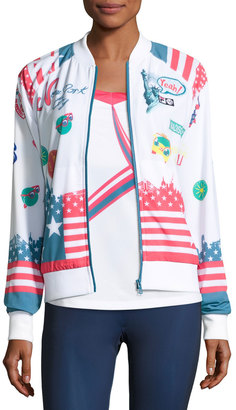 Fila MB Court Central Jacket, White Pattern $140 thestylecure.com