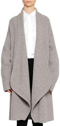 Jil Sander Open-Front Long-Sleeve Wool-Cashmere Cardigan w/ Martingale Back