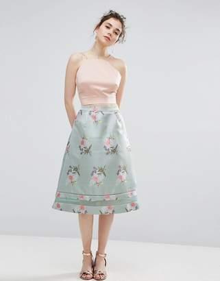 Oasis Floral Jacquard Midi Skater Skirt $87 thestylecure.com