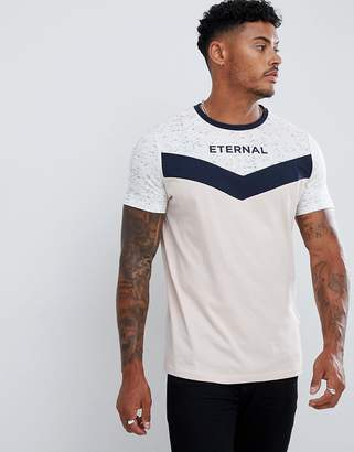 Asos DESIGN t-shirt with yoke chevron space dye and eternal text print