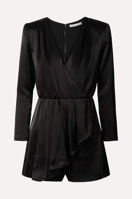Alice + Olivia Alice Olivia - Demi Wrap-effect Ruffled Satin Playsuit - Black