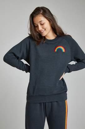 Aviator Nation Rainbow Embroidery Crew Sweatshirt
