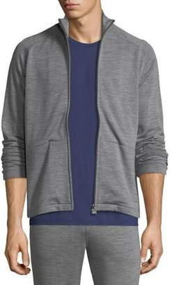 Z Zegna Heathered Wool Zip-Front Sweater