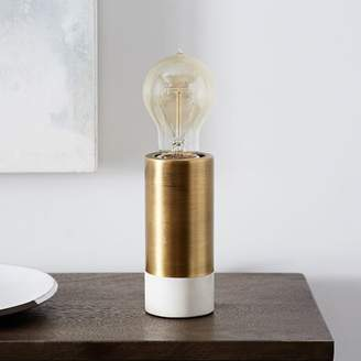west elm Two-Toned Pedestal Table Lamp - Brass/White Marble