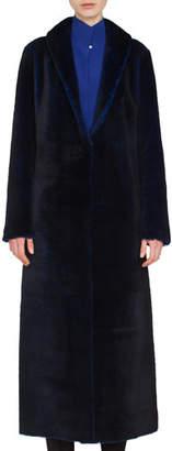 Akris Trinity Snap-Front Long Reversible Shearling Coat