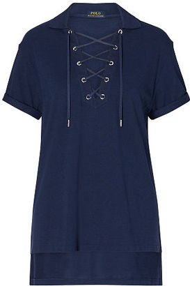 Polo Ralph Lauren Lace-Up Mesh Boyfriend Polo $125 thestylecure.com