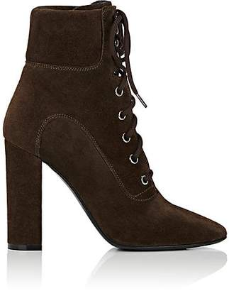 Barneys New York WOMEN'S SUEDE LACE-UP ANKLE BOOTS - BROWN SIZE 8