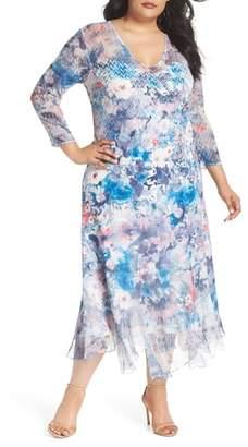 Komarov Inset Floral Charmeuse & Chiffon A-Line Dress