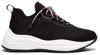Prada America's Cup Mesh And Leather Trainers - Womens - Black