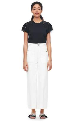 Rebecca Taylor La Vie Embroidered Clean Jersey Tee