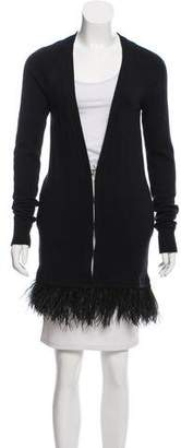 Madison Marcus Feather-Trimmed Knit Cardigan