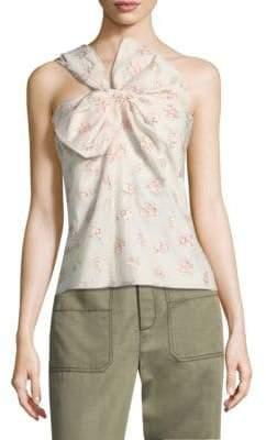 Rebecca Taylor Floral Jacquard One-Shoulder Top