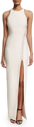 Elizabeth and James Amya Sleeveless High-Slit Maxi Dress, Black $695 thestylecure.com