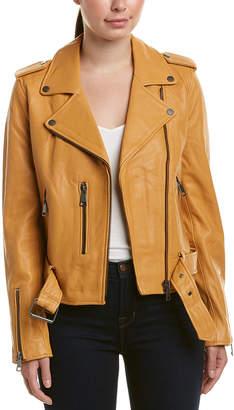 Bagatelle Belted Leather Biker Jacket