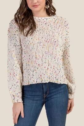 francesca's Daniela Confetti Pullover Sweater - Ivory