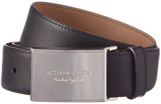 Burberry Brass Plaque Buckle Trench Leather Belt