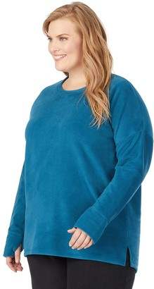 Cuddl Duds Women's Fleecewear with Stretch Lounge Long Sleeve Pullover
