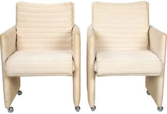 One Kings Lane Vintage Milo Baughman Armchairs on Casters - Set of 2
