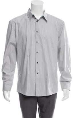 Versace Woven Striped Button-Up Shirt grey Woven Striped Button-Up Shirt