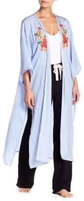 Nordstrom Room Service Tie Front Satin Kimono Exclusive)