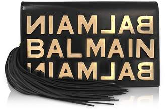 Balmain Black Leather Clutch W/metallic Logo And Tassels