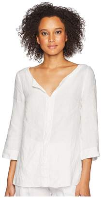 Three Dots Woven Linen Tunic Women's Clothing
