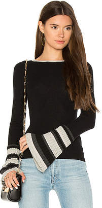 Autumn Cashmere Ribbed Pleat Cuff Sweater in Black $297 thestylecure.com