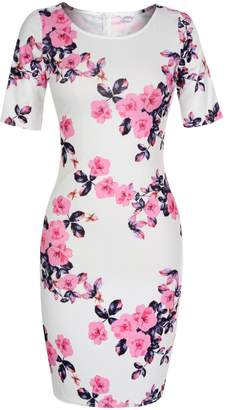 Meaneor Women's Floral Print Slim Fit Sweetheart Scoop Neck Short Sleeve Midi Dress ( XL)