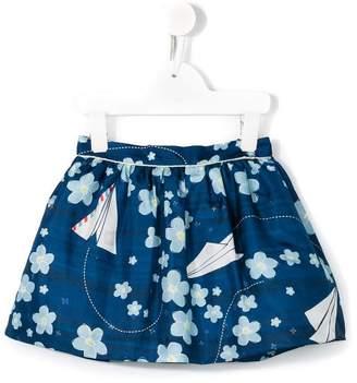 Hucklebones London floral and paper airplane print skirt