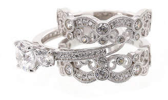 FINE JEWELRY DiamonArt Cubic Zirconia Sterling Silver Vintage-Style Bridal Ring and Guard Set