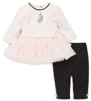 Little Me Baby Girl's 2-Piece Ballet Cotton Dress and Leggings Set