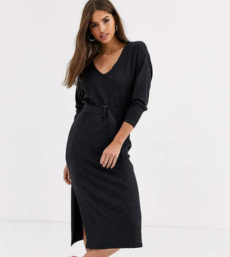 Micha Lounge Luxe knitted dress with resin belt in wool blend