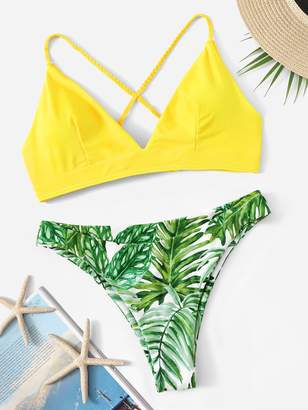 Shein Cross Back Top With Random Palm Print Bikini