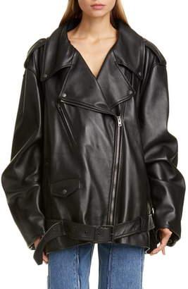 Maison Margiela Oversize Lightweight Leather Moto Jacket