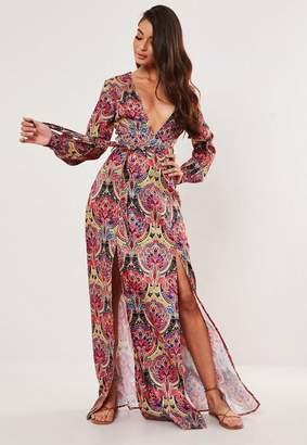 Missguided Pink Paisley Print Side Split Maxi Dress