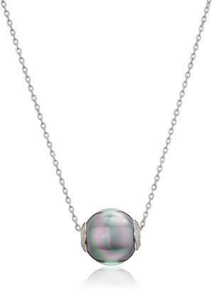 """Majorica 12mm Gray Round Pearl On A Sterling Silver Chain Necklace, 16""""-18"""""""