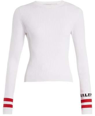 Valentino Logo Intarsia Striped Stretch Knit Sweater - Womens - White Multi