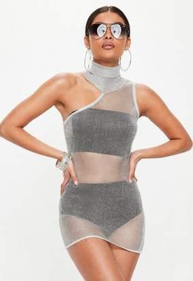 Missguided Silver Asymmetric Armhole Turtle Neck Midi Sweater Dress