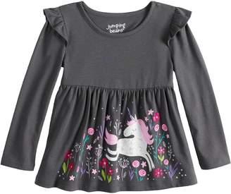 Toddler Girl Jumping Beans Long Sleeve Flutter Sleeve Printed Babydoll Top