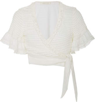 Jonathan Simkhai Ruffled Cropped Knitted Wrap Top