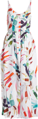 MARA HOFFMAN Xylophone White-print button-down midi linen dress $458 thestylecure.com