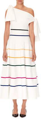 Carolina Herrera Off-the-Shoulder Striped-Knit A-Line Midi Dress