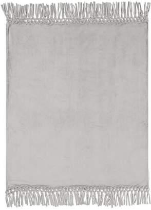 Pottery Barn Teen Plush Bohemian Fringe Throw, 46x 56, Light Gray
