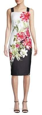 Adrianna Papell Cascading Botanical Sheath Dress