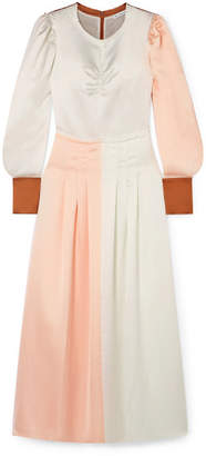 REJINA PYO - Steffy Color-block Satin Maxi Dress - Blush