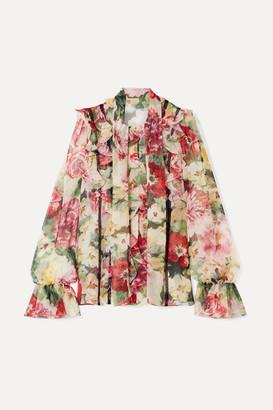 Dolce & Gabbana Ruffled Floral-print Silk-chiffon Blouse - Ivory