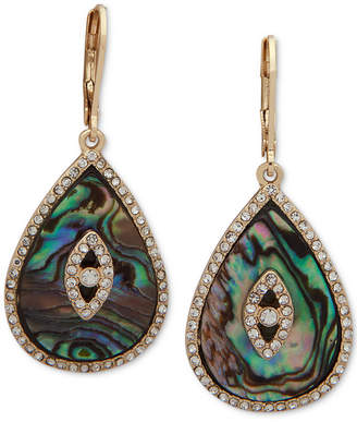 lonna & lilly Gold-Tone Pave & Stone/Imitation Mother-of-Pearl Drop Earrings